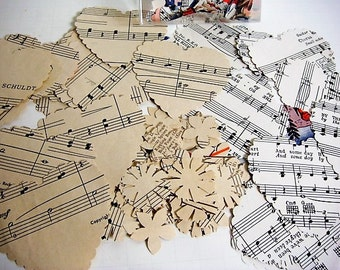 120 Piece Cut Out Hearts Flowers from Vintage Sheet Music Heart Cut Outs Die Cut Hearts Valentine Hearts Craft Hearts