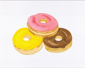 Frosted Donuts Unframed Watercolor Art Print