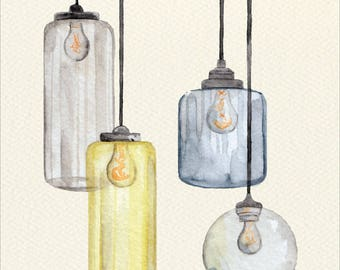 Glass Pendants Unframed Watercolor Art Print