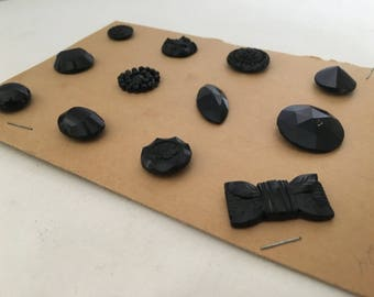 12 BLACK GLASS BUTTONS vintage all different