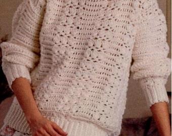 Crochet PATTERN - Lacy Crochet Sweater Instant download PDF