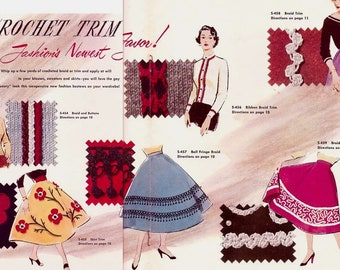 Instant PDF Download Vintage Crochet Patterns collection of 6 Crochet Trims for Clothing or Furnishings