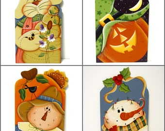 Tissue Box with 4 Changeable Seasonal Inserts, Handpainted Wood, Hand Painted Home Decor, Snowman, Scarecrow, Bunny, Pumpkin, Tole Painting