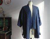 vintage kimono, indigo blue, size large