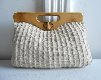 Vintage Knit & Canvas Cream Color Clutch with Wood Top