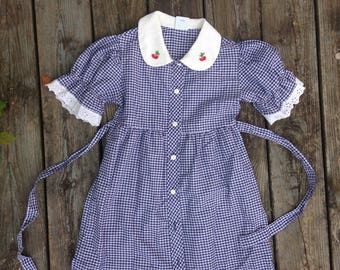 Blue Gingham Girls Dress