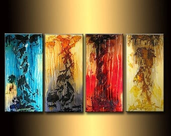 ORIGINAL Huge Textured abstract Painting, Contemporary Fine Art, Multi Paneled textured by Henry Parsinia  72X36