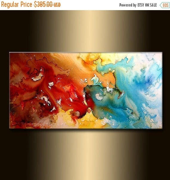 Original Modern Painting, Red And Blue Contemporary Fine Art On Canvas by Henry Parsinia 48x24