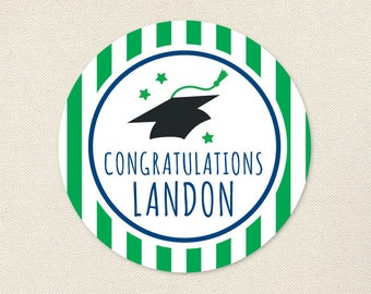 Graduation Stickers (Graduation Cap) - Choose Your Own Colors - Sheet of 12 or 24