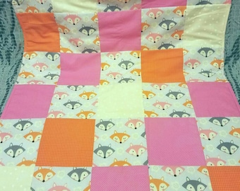 Pink Gray and Orange Fox Baby Blanket Carseat Quilt
