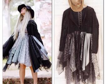 L Sale Stevie Nicks boho Black Gypsy Soul duster Kimono, boho duster, bohemian music festival lace kimono, hippie chic, True Rebel Clothing