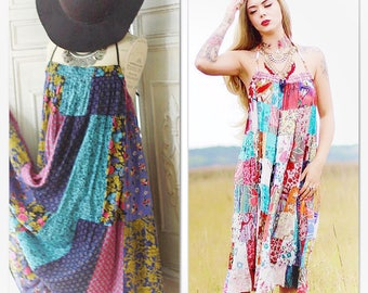 Os Hippie Dress, Burning Man Dress, boho patchwork Dress, Music Festival Dress Festival Sundress, Boho Backless Dress True Rebel Clothing