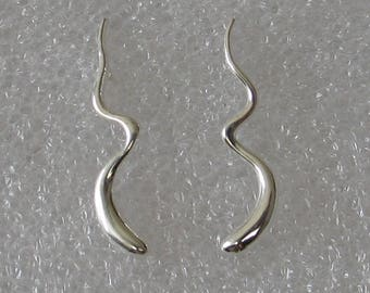 23mm Squiggle   Sterling Silver  Post Earrings