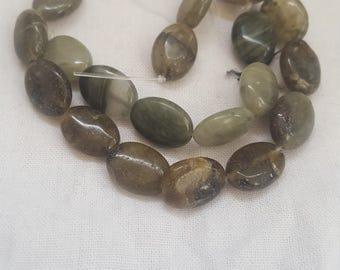 Green / Brown Oval Bead Stone Natural stone look Destash