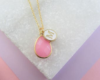 Pink Gemstone and Initial Necklace,Bridesmaids Gifts,Monogram Necklace, Personalized Jewelry, Mothers Day Gift, Gift for Mom Mum