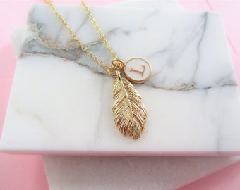Golden Feather Necklace, Initial Necklace,Bridesmaids Gifts,Personalised Necklace,Gold Necklace,Bridesmaid Gift,Charm Necklace, Gift for Her