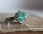 Green Aventurine Statement Ring, Raw Stone Adjustable Ring, Organic Gemstone Jewelry, Christmas gift for her, under 20