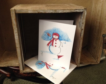 Whimsical NC State Football Player Snowman Note Cards