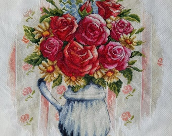 New, 100% hand made, completed cross stitch - Rose vase - F23u