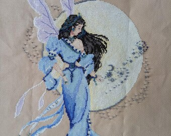 New Finished Completed Cross Stitch - Moon Fairy - P123k