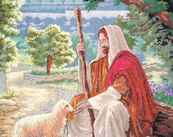 New Finished Completed Cross Stitch - Sheepherder - P8