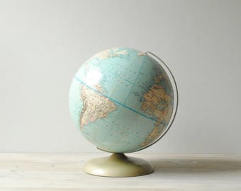 Vintage World Globe, 12 Inch Rand McNally Political Relief Globe
