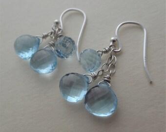 Blue gemstone earrings blue earrings blue and silver earrings blue topaz earrings blue topaz dangle earrings sky blue topaz earrings
