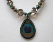Moroccan Sunrise Diva Necklace - Beautiful Earth Tone Threaded Pendant Surrounded by Smokey Quartz Beads - Hemitite Stone Iris Beads - Chic