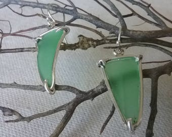 Seaglass Sterling Silver Earrings Dangle Green Frosted Beach Glass Wine Beer Bottle Ocean Tropical Bright Beachy Boheme Coastal Sea Glass