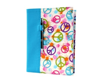 Notebook cover with option to personalize with a name, composition notebook cover, fabric notebook cover, teacher gifts - Peace Paint