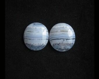 Blue Lace Agate Cabochon Pair