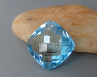 Swiss Blue Topaz Faceted Square Pendant Bead 15mm