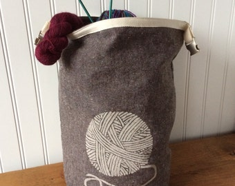 Trundle Bag- Yarn Ball Design, Roll Down Top Knitting Project Bag
