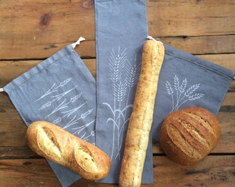 The Bread Bakers Set- 3 Organic Linen Drawstring Bags
