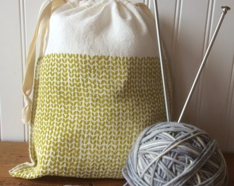 Knit Stitch Knitting Project Bag, Organic Linen Drawstring Bag, Cloth Gift Bag