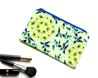 Slim cosmetic bag, zipper pouch pencil case, wildflowers green blue bag, back to school, gift for her, Mothers day