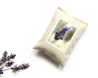 Drawer sachet, lavender sachet, 5 x 3.5 inches linen sachet, lavender plant, scented natural sleep aid, best friend birthday, lavender photo