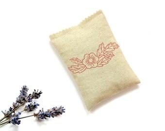 Lavender linen sachet, 5 x 3.5 inches, embroidered flower sachet gift for her, drawer freshener, organic dried lavender