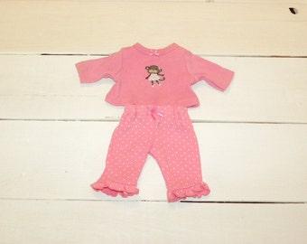 Pink Polka Dot Pants and Pink Tshirt - 12 inch doll clothes