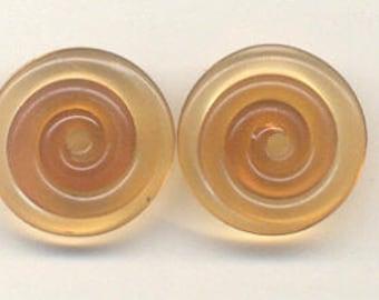 18mm range, Tom's handmade lampwork transparent indian summer 2 disc bead set, 1 pair 96028