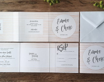 Tri-Fold All-In-One Wedding Invitation Suite - Rose Gold and White · Modern Wedding Invitations (209)