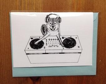 Shiba Inu Dog DJ-ing Greeting Card