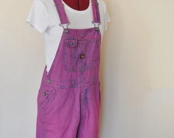 Pink Small Bib OVERALL Capri Pants - Fuchsia Pink Dyed UnionBay Cotton Denim Overalls - Adult Womens Size Small (32 W x 15 L)