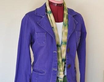 "Purple Jrs Medium Denim JACKET - Violet Blueberry Dyed Denim Upcycled Maurices Denim Blazer Jacket - Adult Womens Size Medium (36"" chest)"