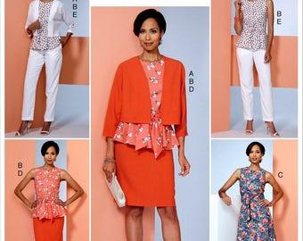 Pencil Skirt Pattern, Unlined Short Jacket Pattern, Flared Dress Pattern, Pants and Peplum Top Pattern, Butterick Sewing Pattern 6463