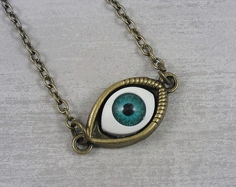 Blue Evil Eye Necklace, Antique Bronze Evil Eye Charm on a Bronze Cable Chain