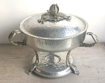 Vintage Rodney Kent Hammered Aluminum Chafing Warming Dish