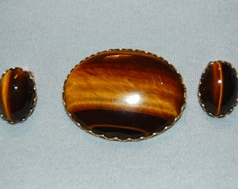 Vintage / Set / Brooch / Earrings / Tigers Eye / Stone / Gold Tone / old jewelry / jewellery