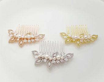 Bridal Hair Comb Rose Gold Wedding Hair Comb Cubic Zirconia Leaf Bridal Hair Piece Pearl Crystal Hair Comb Gold Bridal Hair Comb, Kerry