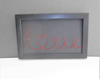 Love  Red Black Wire Framed Wall Hanging Art
